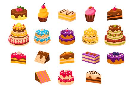Ciasta z kostki, słodkie desery, pieczone ciasta i babeczki ze śmietany, herbatników, czekolady i jagód ilustracje wektorowe na białym tle