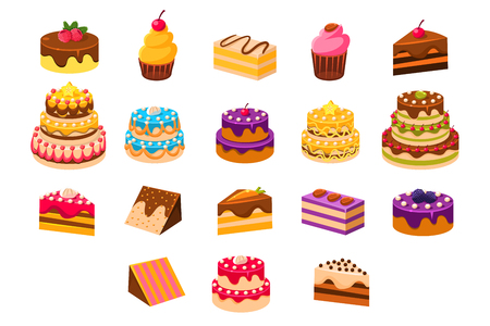 Cakes sett, sweet dessetrts, baked cakes and cupcakes made of cream, biscuit, chocolate and berries vector Illustrations on a white background Vettoriali