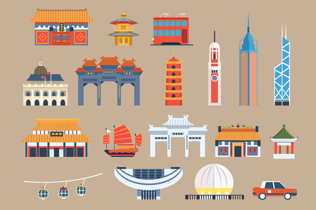 Symbols of Hong Kong sett, Chineset landmarks, travel elements vector Illustrations on a beige background