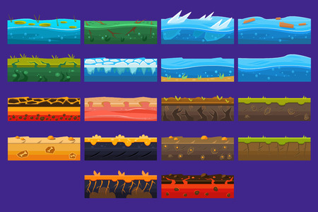 Landscape elements sett, ground collection, surfaces for computer games vector Illustrations