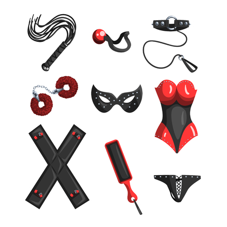 Fetish stuff for role playing and bdsm sett of vector Illustrations on a white background