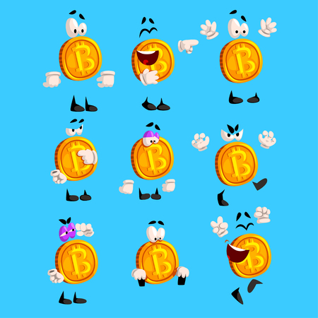 Bitcoin character sett, crypto currency emoji with different emotions vector Illustrations vector Illustrations on a light blue background.