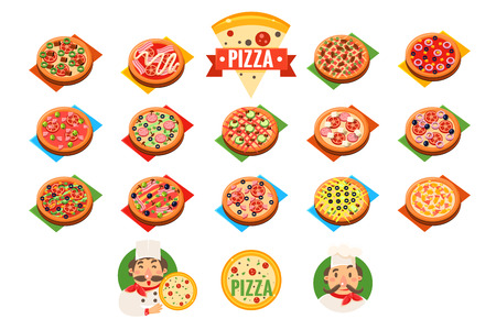 Pizza sett, popular varieties of pizzas vector Illustrations isolated on a white background. Illustration