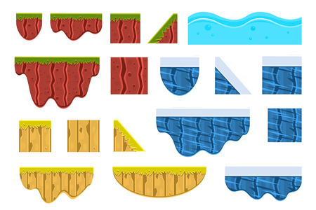 Different surfaces sett, texture of ground, water, ice and wood vector Illustrations on a white background.