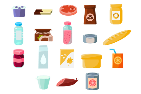 Produits d'épicerie quotidiens communs sett, nourriture et boissons vector Illustrations sur fond blanc Banque d'images - 96398624