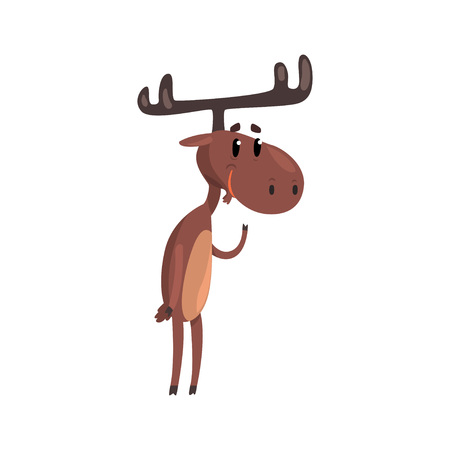 Cute funny deer cartoon character with antlers standing on two legs vector Illustration on a white background