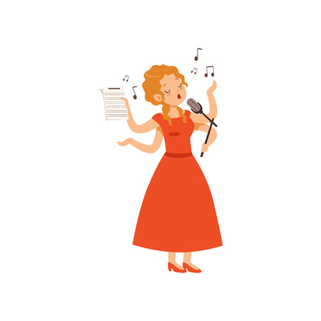 Multitasking young woman singing with microphone, singer character with many hands vector Illustration isolated on a white background.