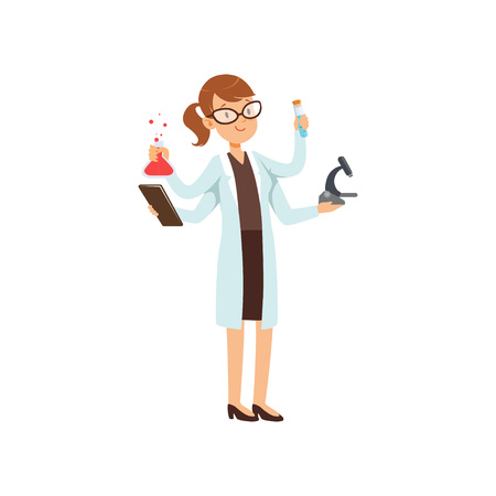 Multitasking girl chemist character, female scientist in white coat with many hands holding test flasks and microscope vector Illustration on a white background.