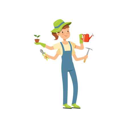 Multitasking gardener character, girl with many hands holding watering can, flower pot and garden tools vector Illustration on a white background