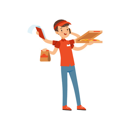 Multitasking pizza delivery boy character, boy in red uniform with many hands boxes of pizza and talking by phone vector Illustration on a white background Vectores