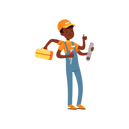 Multitasking plumber character, african american boy in uniform many hands holding wrench and tool box vector Illustration on a white background Illustration