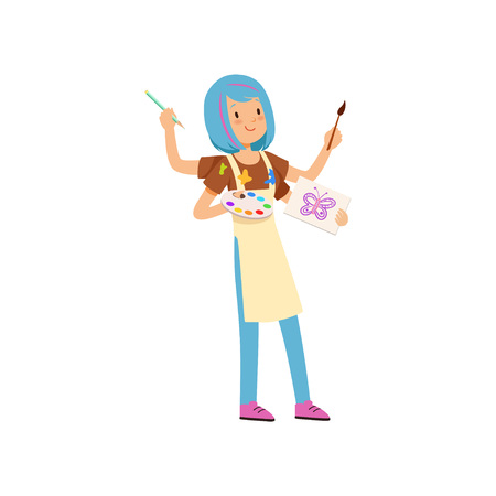 Multitasking artist character, girl with blue hairs with many hands holding palette and paintbrushes vector Illustration isolated on a white background.