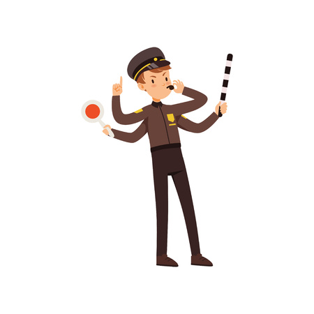 Multitasking police officer character managing road traffic, policeman with many hands vector Illustration isolated on a white background. Illustration