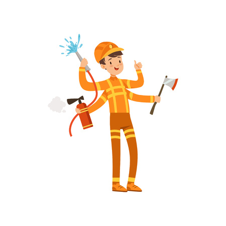 Multitasking firefighter character, male fireman with many hands holding fire fighting equipment vector Illustration isolated on a white background.