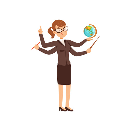Multitasking teacher with a pointer and globe, young woman character with many hands vector Illustration isolated on a white background. Illustration