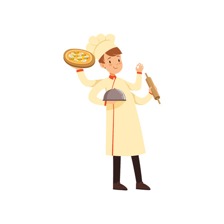 Multitasking chef cook character, young man with many hands holding cloche, pizza, rolling pin and showing okay sign vector illustration on a white background.