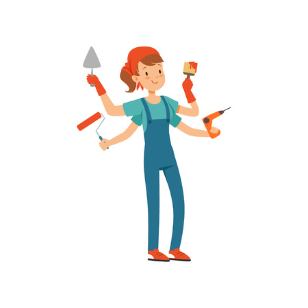 Multitasking female painter character, young professional paint job designer with many hands holding construction tools vector illustration isolated on a white background.