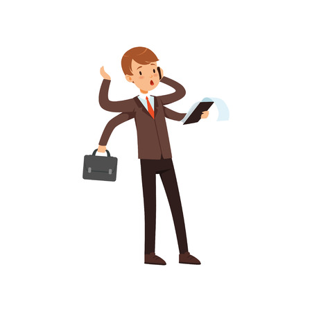 Multitasking young businessman, boy in a business suit character with many hands vector illustration on a white background.