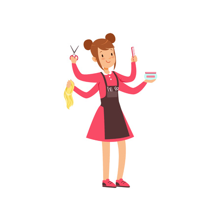 Multitasking female hairdresser character, young woman with many hands and hairdressers tools vector illustration on a white background.