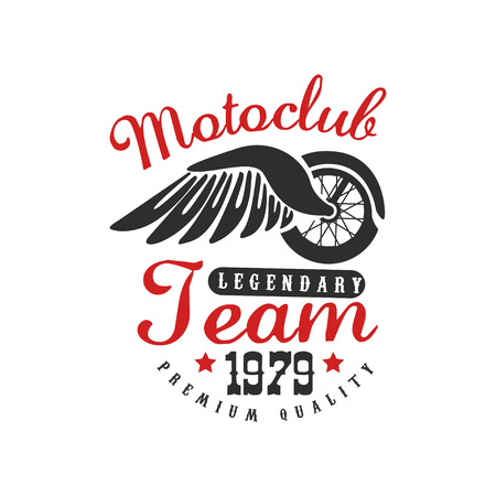 Motoclub icon, design element for motor or biker club, motorcycle repair shop, print for clothing vector illustration on a white background.