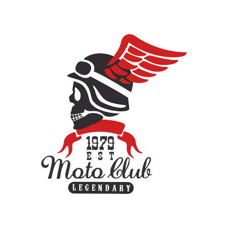 Moto club icon est 1979, design element for motor or biker club, motorcycle repair shop, print for clothing vector illustration on a white background.