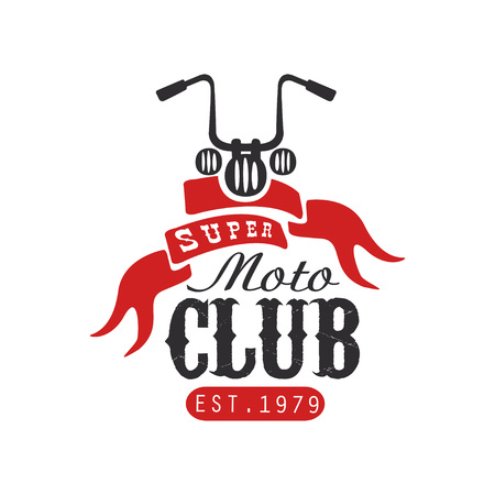 Super moto club icon, est 1979, design element for motor or biker club, motorcycle repair shop, print for clothing vector illustration on a white background. Illustration