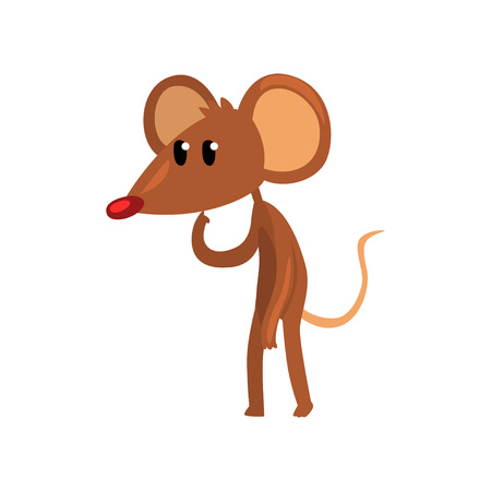 Cute brown thoughtful mouse standing on two legs, funny rodent character cartoon vector Illustration on a white background.