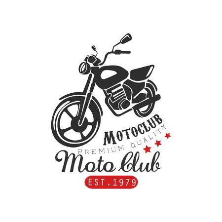 Motor club logo, premium quality 1979, design element for motor or biker club, motorcycle repair shop, print for clothing vector Illustration on a white background Illustration