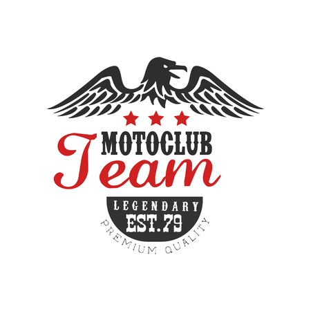Motor club team icon, legendary est 1979, premium quality design element for motor or biker club, motorcycle repair shop, print for clothing vector illustration on a white background. Çizim