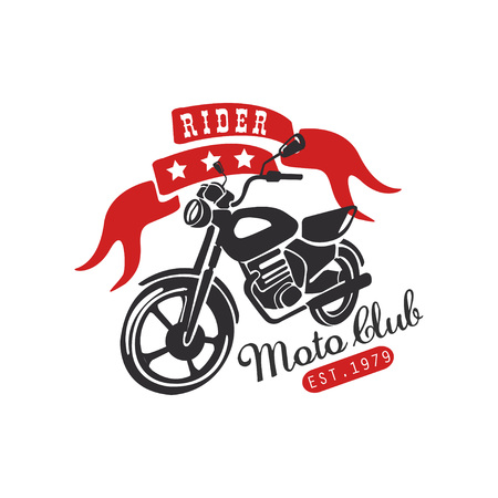 Rider moto club icon, est 1979 design element for motor or biker club, motorcycle repair shop, print for clothing vector illustration on a white background.
