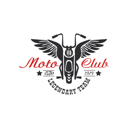 Moto club icon, legendary team, estd 1979, design element for motor or biker club, motorcycle repair shop, print for clothing vector illustration on a white background.