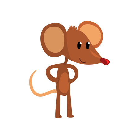 Cute brown mouse standing on two legs with hands on its waist, funny rodent character cartoon vector illustration on a white background.