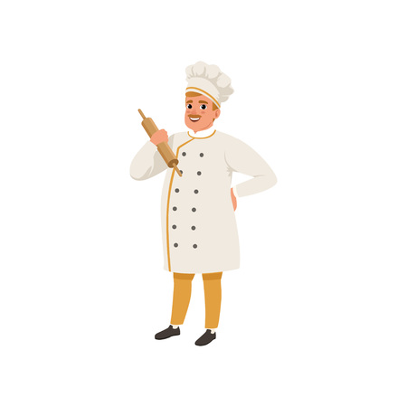 Cheerful baker character in uniform holding rolling pin vector illustration on a white background.