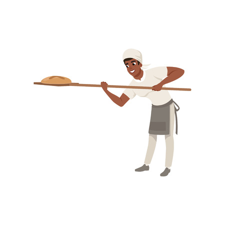 Smiling African American baker character in uniform taking out with shovel freshly baked bread vector illustration on a white background.