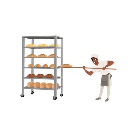 Smiling african american baker character in uniform taking out with shovel freshly baked bread to rack vector Illustration on a white background Иллюстрация