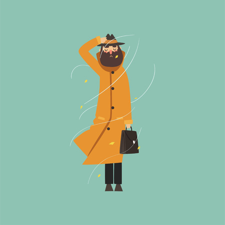 Bearded man in warm orange overcoat and hat on a very windy day outdoors vector illustration.
