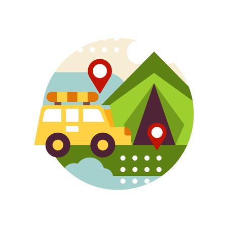 Creative landscape with retro van bus and tent in icon circle, travel and camping sign, design element for emblem or badge vector illustration on a white background.
