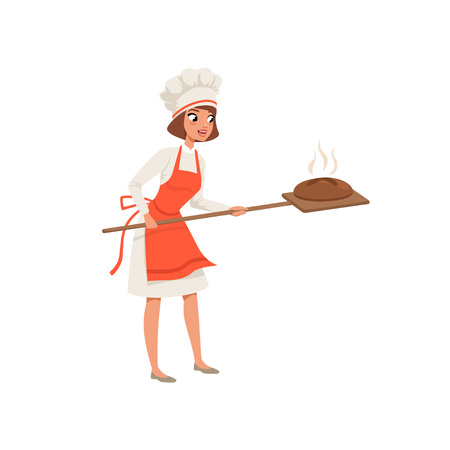 Smiling female baker character in uniform taking out with shovel freshly baked bread vector illustration on a white background.