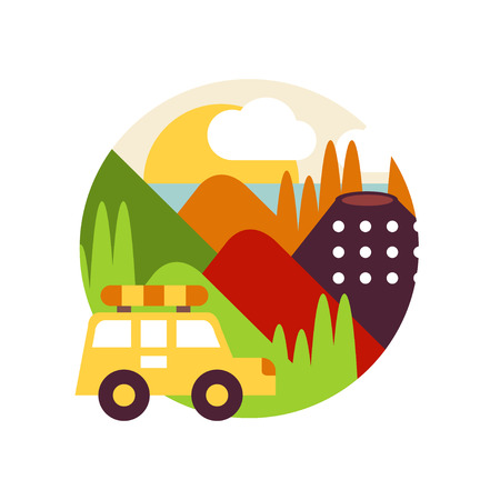 Summer mountain landscape with car in logo circle, travel sign, design element for emblem or badge vector Illustration on a white background