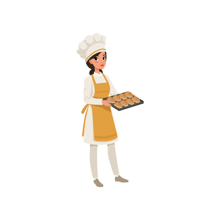 Young female baker character in uniform holding a tray with freshly baked bread vector illustration on a white background.