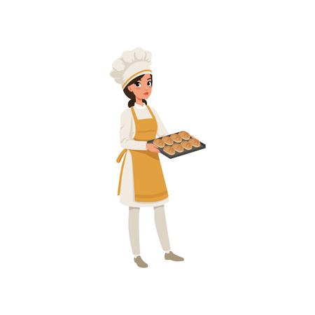 Junger weiblicher Bäcker Charakter in der Uniform , die einen Behälter mit frisch gebackenes Brot Vektor-Illustration auf einem weißen Hintergrund hält