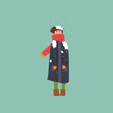 Boy in warm coat and scarf freezing and shivering on winter cold vector illustration.