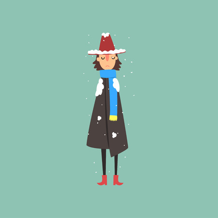 Young woman in warm coat, scarf and hat freezing and shivering on winter cold vector illustration.