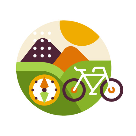 Creative landscape with bicycle and compass in icon circle, summer travel or holidays sign, design element for emblem or badge vector illustration on a white background. Illustration