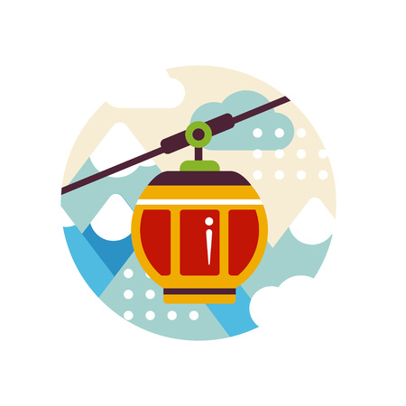 Tourism sign with cable car on skiing resort, travel logo design, element for emblem or badge vector Illustration on a white background