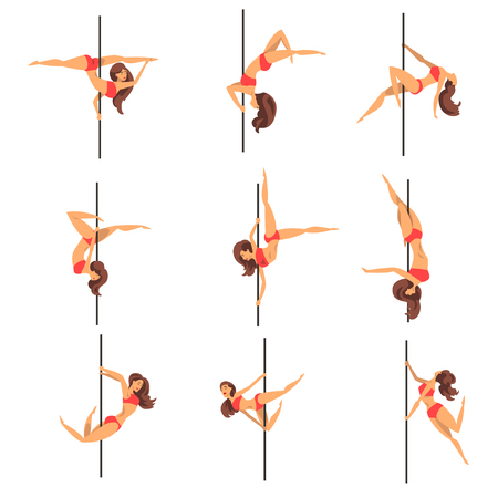 Young pole dancing women set, beautiful pole dancers showing some tricks vector Illustrations on a white background