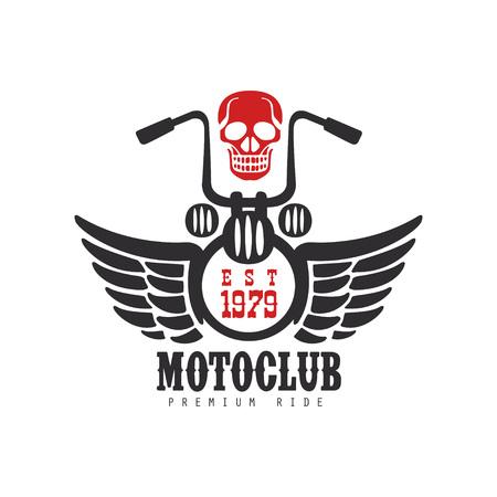 Motoclub logo, premium ride, est 1979, design element for motor or biker club.