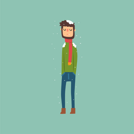 Yong man freezing in winter cold wearing woolen sweater with scarf vector illustration.
