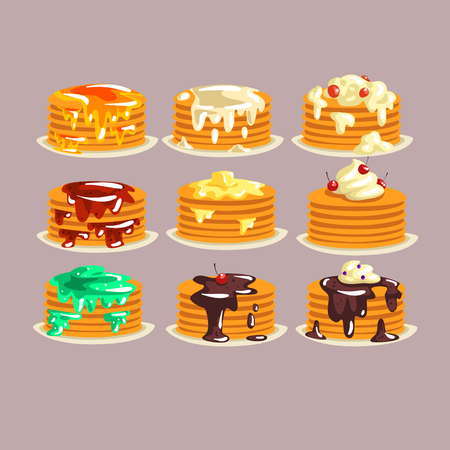 Various kinds of pancakes with different ingredients, traditional breakfast food with berries, syrup, butter set of vector illustrations. Illustration