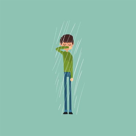 Sneezing boy freezing over autumn rain vector illustration.